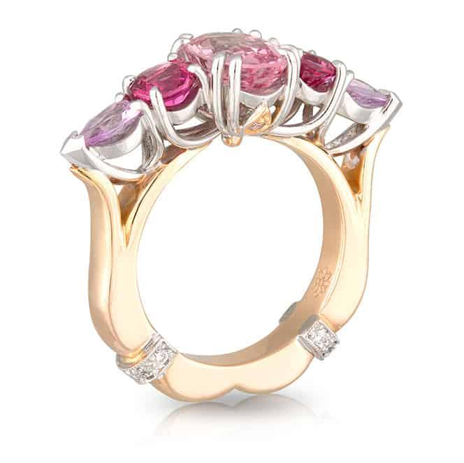 5 Stone Pink Ring