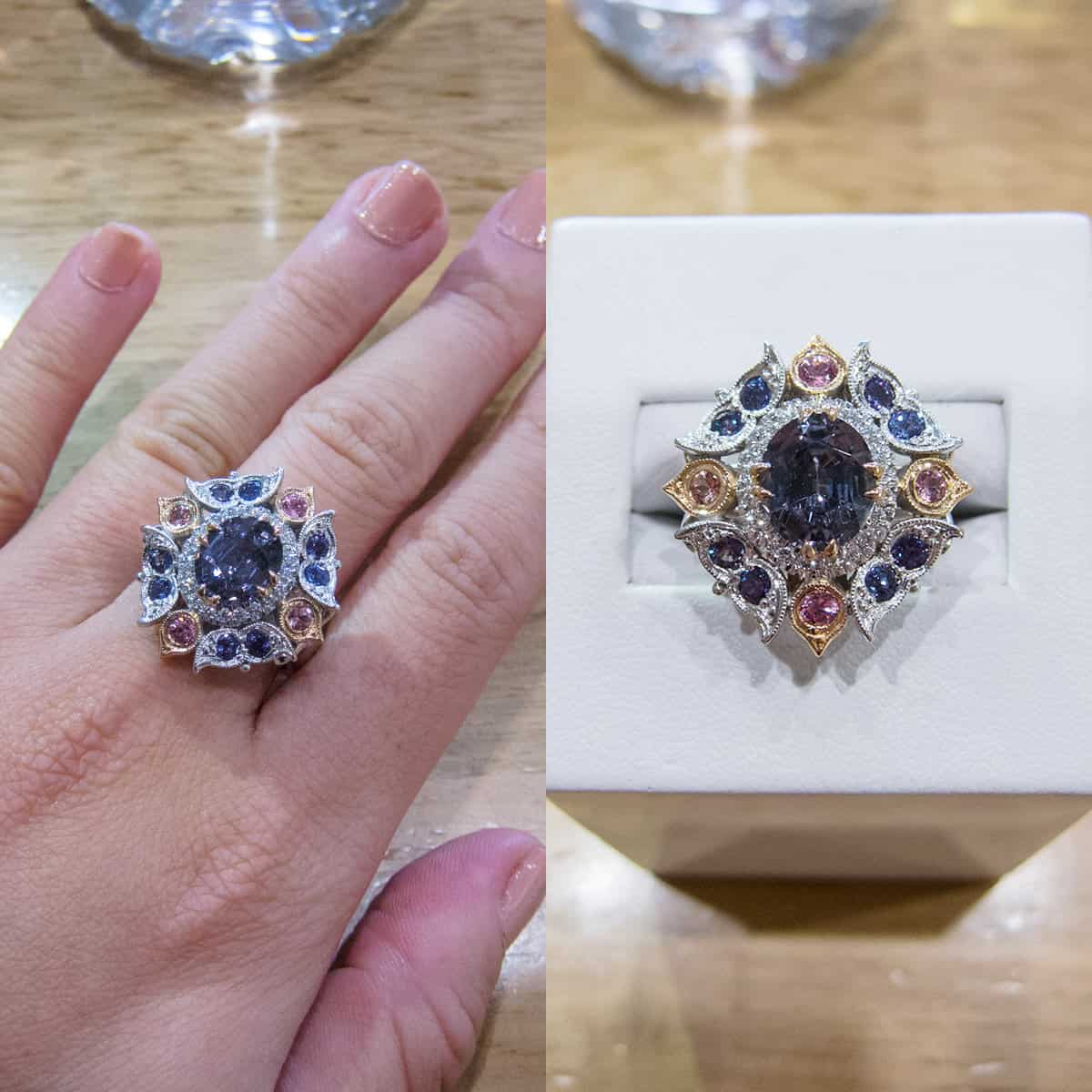 Rose & White Gold Ring with Grey Burmese spinel