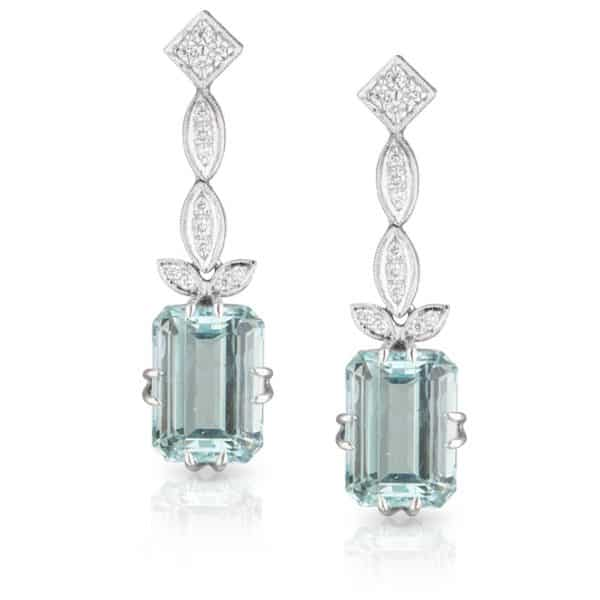 Aquamarine Diamond Drop Earrings