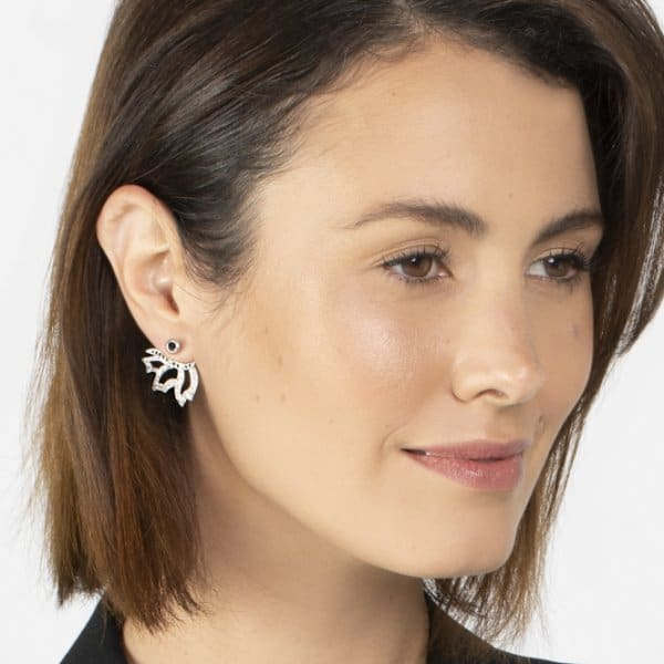 White Black Angel Wing Transitional Earrings
