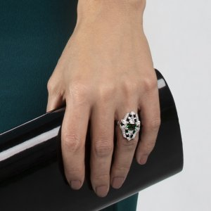 Chrome Tourmaline Black Spinel Ring