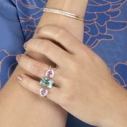 Tammy Aquamarine Double Finger Ring
