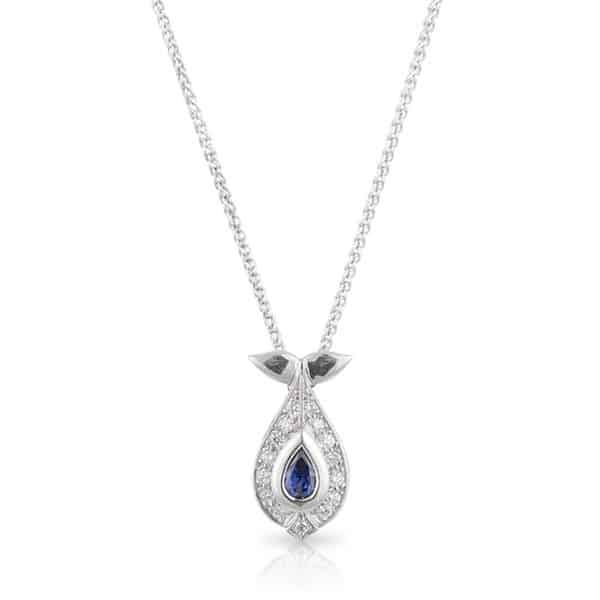 Pear Sapphire & Diamond Necklace