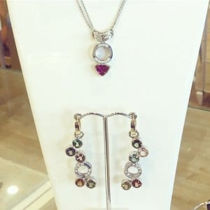 Tourmaline Necklace Earring Set