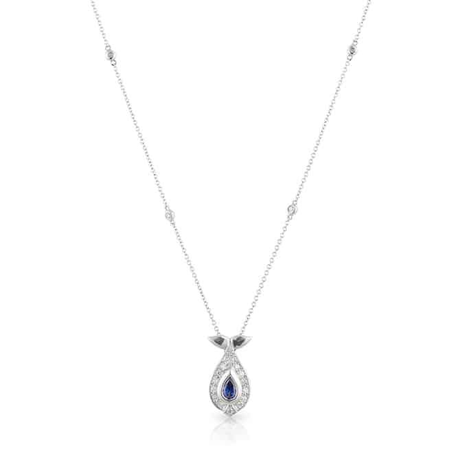 Pear Sapphire Diamond Necklace
