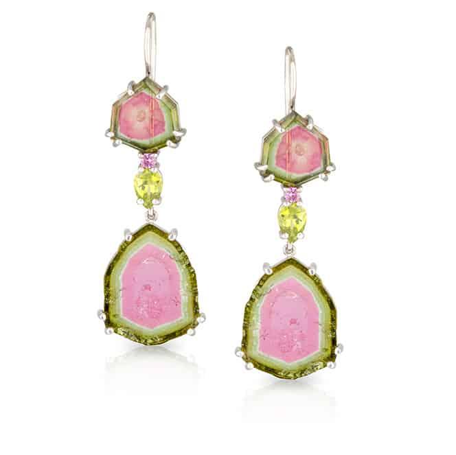 Watermelon Tourmaline Hook Earrings