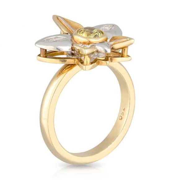 Yellow Sapphire Flower Ring