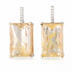 Rutilated Quartz Rectangle Earrings