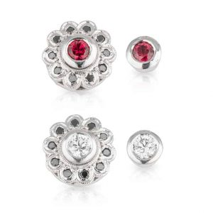 Red Spinel White Black Diamond Studs