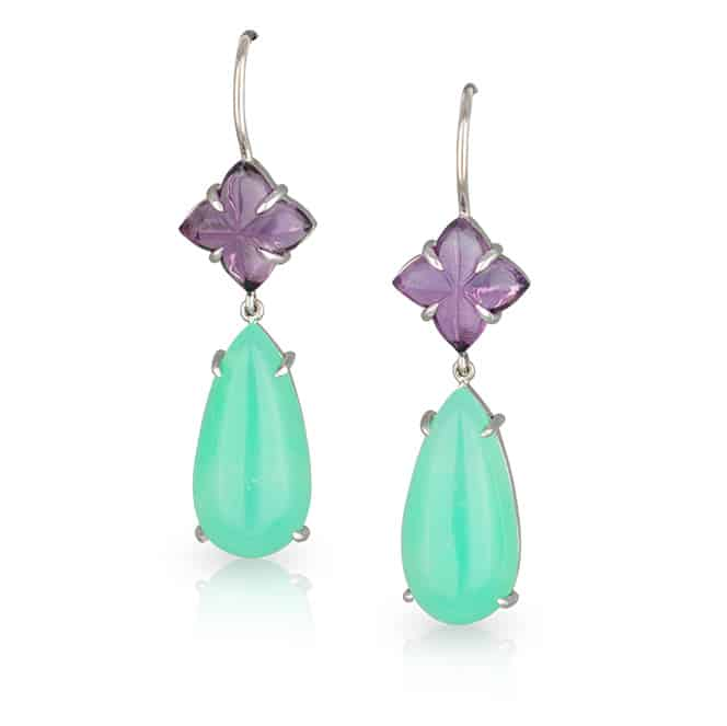 Purple Green Drop Earrings