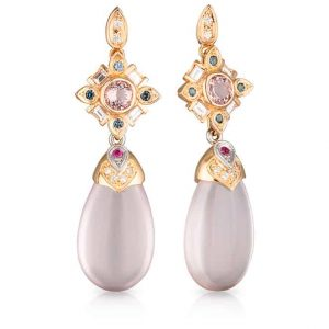 Pink Quartz Sapphire Drop Earrings