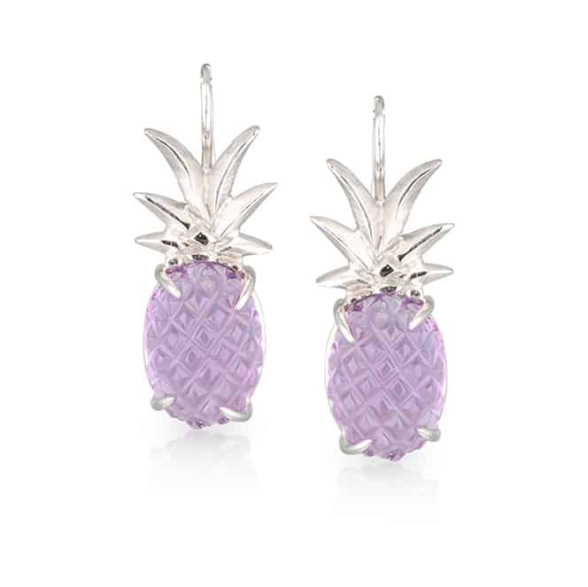 Pineapple Amethyst Earrings