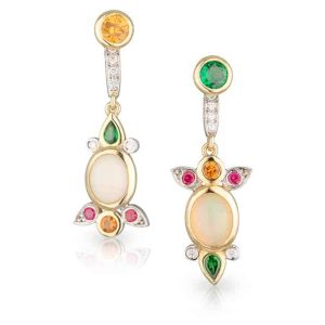 Opal Asymmetrical Drop Earrings