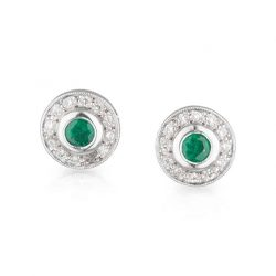 Emerald Diamond Halo Studs