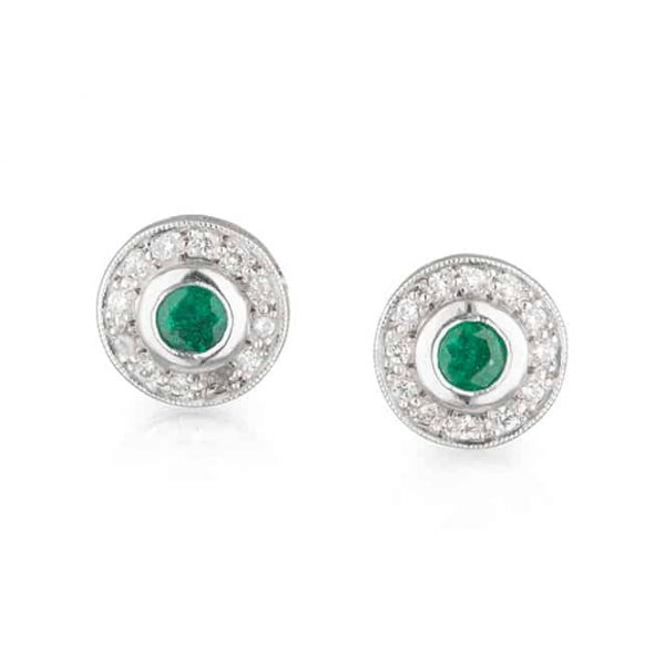 Emerald Diamond Halo Studs