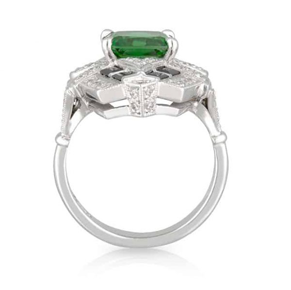 Tsavorite Black Spinel Ring