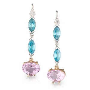 Blue Zircon Pink Drop Earrings