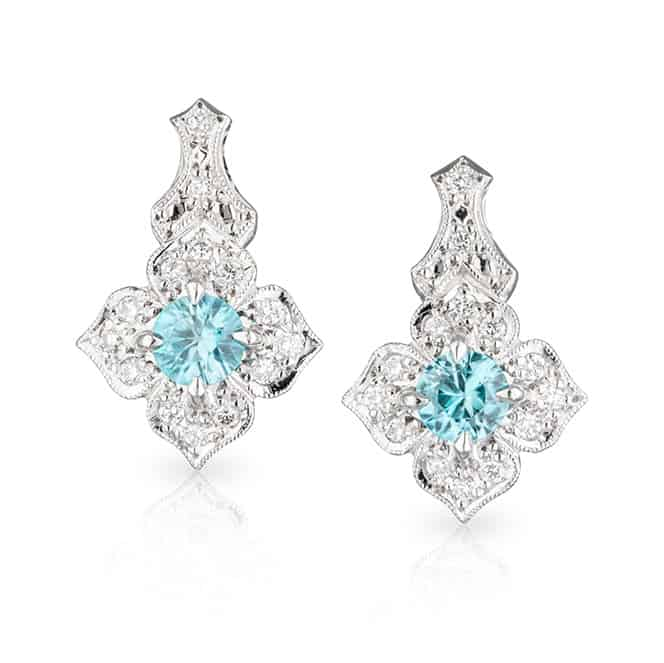 Blue Zircon Flower Studs