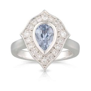 Tear Drop Blue Stone Diamond Ring