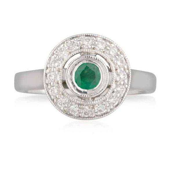 Round Emerald Round Bezel Ring