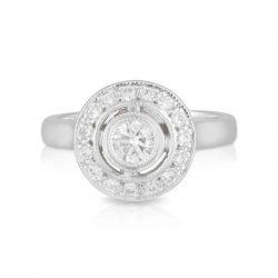 Round Diamond Bezel Halo Ring