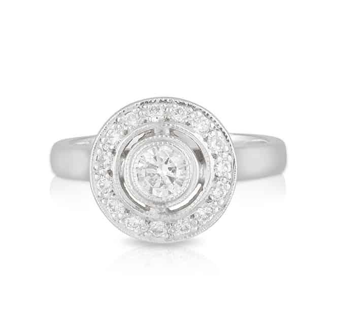 Round Diamond Bezel Halo Ring
