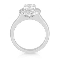 Round Diamond 4 Claw Halo Ring
