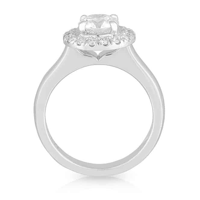 Round Diamond 4 Claw Halo Ring