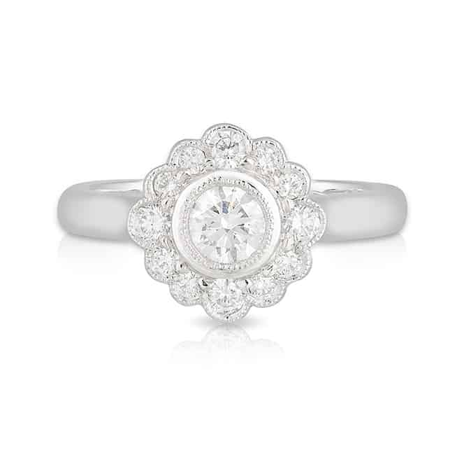 Round Bezel Diamond Daisy Ring