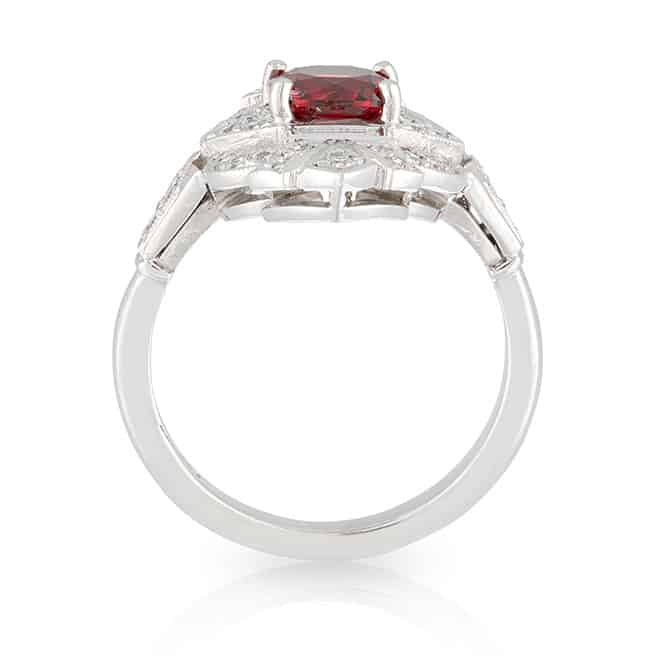 Red Spinel Art Deco Ring