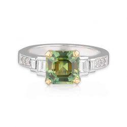 Parti Sapphire Asscher Ring
