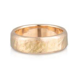 Gents Wedder Yellow Gold Hammer Ring