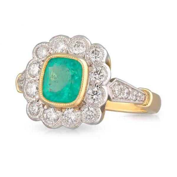Emerald Cushion Ring