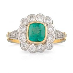 Emerald Cushion Ring