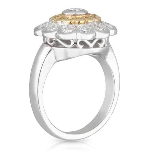 Double Halo Yellow Diamond Daisy Ring