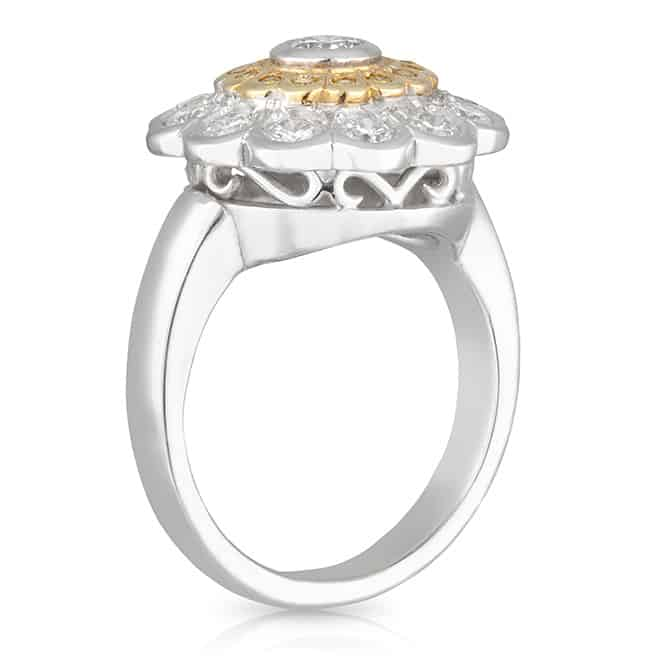 Double Halo Yellow Diamond Daisy Ring