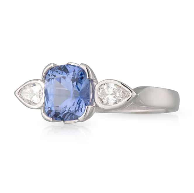 Cushion Sapphire Pear Shoulders Ring