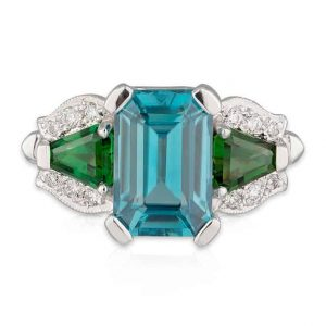 Blue Green Deco Ring