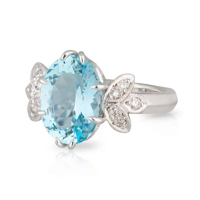 Aquamarine Wings Ring