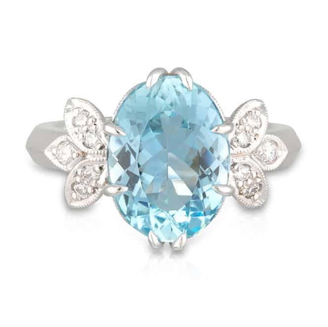 Aquamarine Wings Ring