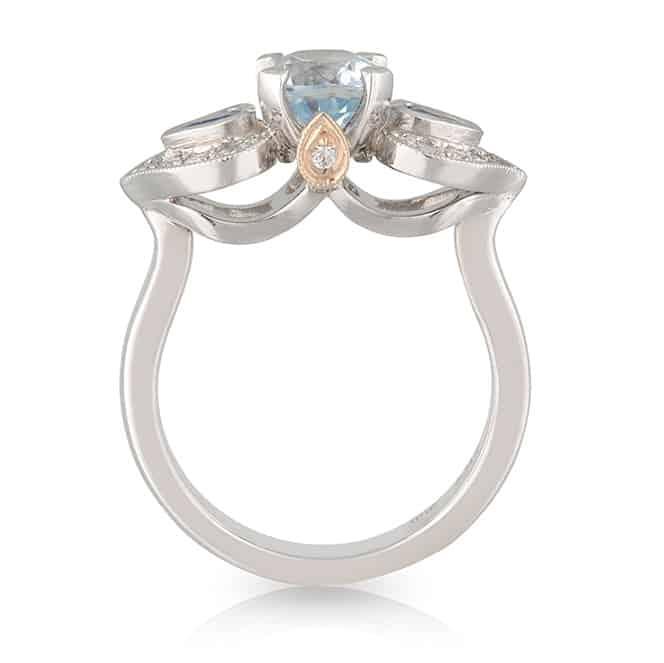 Aquamarine Blue Heart Ring
