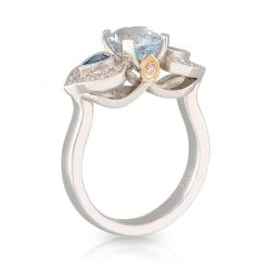 Aquamarine Blue Heart Ring
