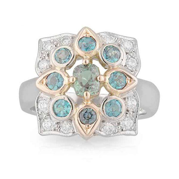 Alexandrite Clover Ring