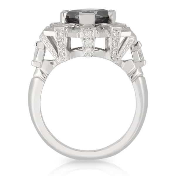 Grey Spinel Diamond Ring