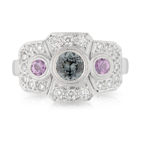 Grey Spinel Ceylon Pink Sapphire Diamond Ring