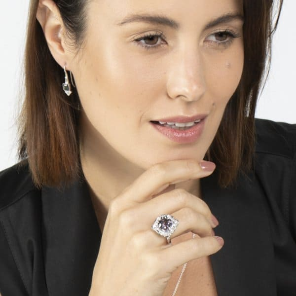 Grey Spinel Ring and Earrings