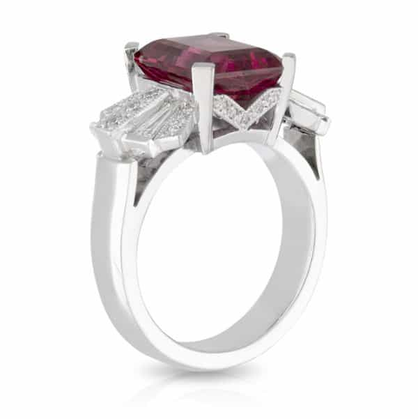 Rubellite Tourmaline Diamond Ring