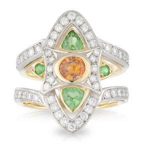 Tammy Orange Sapphire Tsavorite Garnet Ring