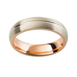 Gents White & Rose Wedding Band
