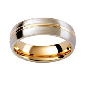 Gents White & Yellow Gold Wedding Band